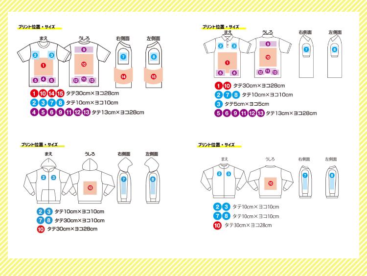 クラスTシャツプリント可能範囲